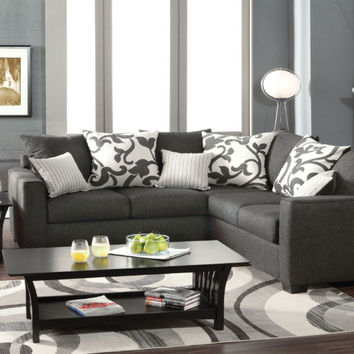 Furniture of america SM3015 Cranbrook charcoal fabric sectional sofa with square arms