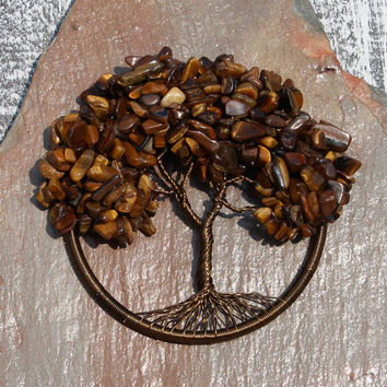 """Tigers Eye 3"""" Tree of Life Wall Hanging, Home Décor, Meditation Aid"""