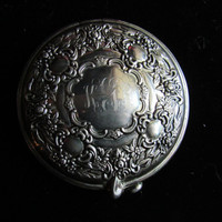 ON SALE Vintage Silver Plated Victorian Style Mirrored Compact / Antique Silver Compact / Engraved Compact / Vintage Accessories / Vintage C