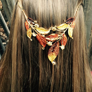 Hair jewelry, Hair accessory, Tribal hair chain, Vintage hippie head piece. Boho hair band, Rust copper gold and brown leaf design