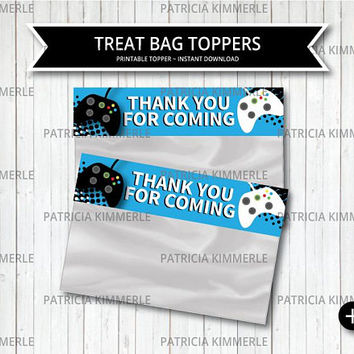 Printable Bag Toppers, Video Game Party, Game On, Blue, Teen, Gaming, Level Up, Gamer, Favor Bag, Treat Container, DIY, INSTANT DOWNLOAD