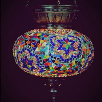 Turkish Mosaıc Lamp Large 10 ınch hanging lamp