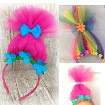 Neon Rainbow Troll Hair Headband Trolls Inspired Costume Accessory Poppy Hair Headband