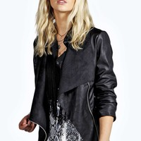 Emilie Waterfall Faux Leather Jacket