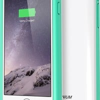 iPhone 6 Battery Case , Trianium Atomic S iPhone Charger iPhone 6 Battery Case (4.7 Inches) [White/ Turquoise] - 3100mAh External Portable Charger Protective iPhone 6 Charger Case / iPhone 6 Charging Case Extended Backup Powerbank Battery Pack Cover Case F