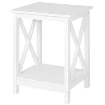 Country - Side Table with 1 floor, white lacquered, country style