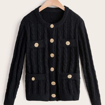 Button Detail Cable Knit Cardigan