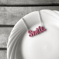 Smile Necklace, Word Pendant Necklace, Inspirational Personalized Necklace, Crochet Wrap Jewelry, Friendship Necklace, Mauve
