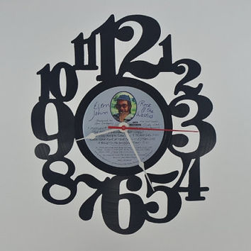 Vinyl Record Clock Music album wall clock  (artist is Elton John)