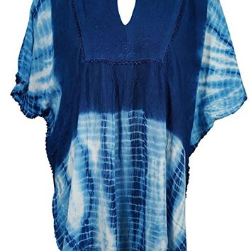 Womens Kimono Tunic Tie Dye Soft Touches Embroidered Peasant Blouse Onesize