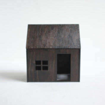 Espresso colored little wooden house - miniature architecture in Kona stain - tabletop cabin structure in dark finish