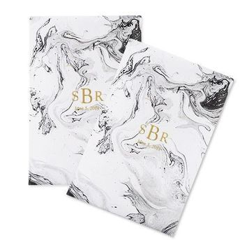 Personalized Paper Wedding Favor Gift Bag - Marble (25) (Pack of 25)