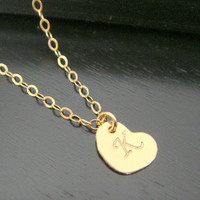 All 14 KT Gold Filled Alphabet Letter Heart Charm Necklace Disc Necklace Bridesmaid letter A B C D E F G H I J K L M N O P R S T U V W Y Z