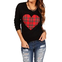 Black Plaid Heart Sweater