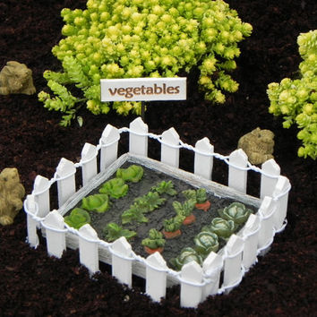 Fairy garden vegetable patch sign miniature bunny rabbit white picket fence, fairy accessories, fairy accessory