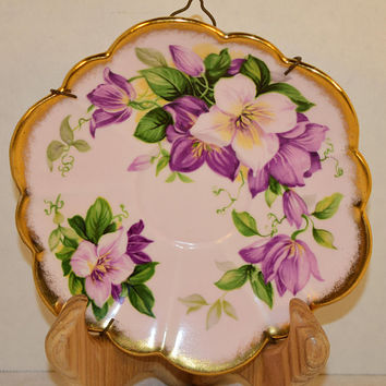 Windsor Purple Floral Plate with Hanger Vintage Made in England Bone China Saucer Purple Flowers Lavender Gold Scalloped Saucer Wire Hanger
