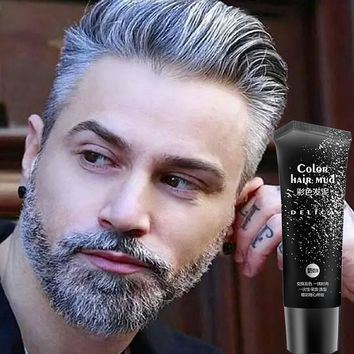 Disposable Silver Gray Color Hair Gel Cream Temporary Color Hair Wax Pomade Mud Product for Quickly Modeling Man and Woman