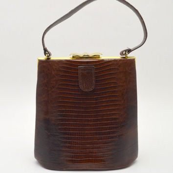 Gorgeous Vintage Vassar Lizard Skin Handbag, Brown Lizard Purse, With Coin Purse and Mirror, c 1950s-1960s