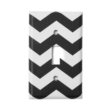 Black and White Chevron Striped Switch Plate