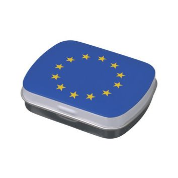 Patriotic candy tins with Flag of European Union