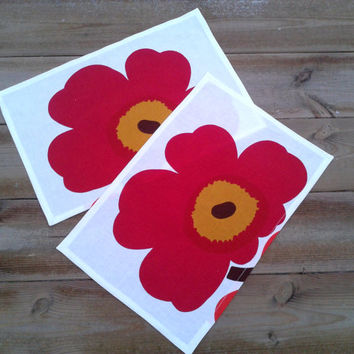 Marimekko linen napkins, fabric napkins, cloth napkins, table napkins, modern napkins, Eco friendly, Unikko marsala