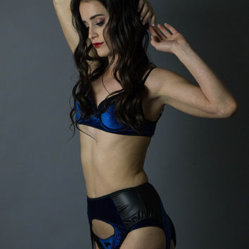 Night Sky Lingerie Set, Blue Glitter Velvet Lingerie Set, Black and Blue Lingerie Set, Black Lace Lingerie, Lace and Velvet Lingerie