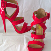 Yoki Fuchsia Shoes Buckle Pumps