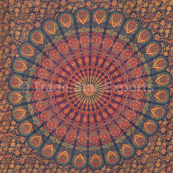 Twin Mandala Tapestry Wall Hanging, Gypsy Decor, Picnic Blanket, Bohemian Tapestries, Indian Table Cloth, Dorm Decor, Meditation Tapestry
