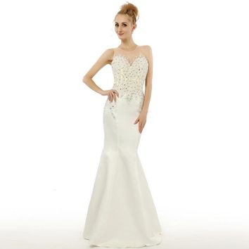 Sparking Beautiful Mermaid Prom Dress With Crystals White Satin Evening Gowns Floor Length Women Formal Dress