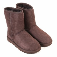 UGG Women's Classic Short II Suede Sheepskin Pull On Boot Chocolate