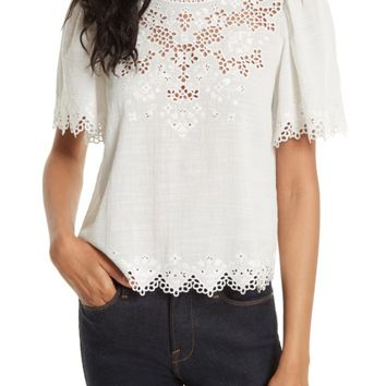 Rebecca Taylor Amore Embroidered Top | Nordstrom