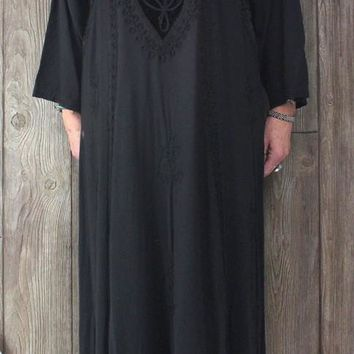 Cute Holy Clothing 2x size Long Black Dress Embroidered Hippy Boho Goth Casual Plus