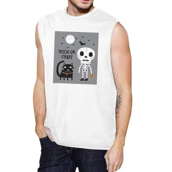Trick-Or-Treat Skeleton Black Cat Mens White Muscle Top