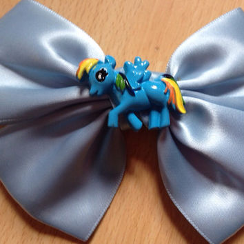 Pale Blue Rainbow Dash Hair Bow - My Little Pony - Friendship is Magic, Brony, Cute, Hairbow, Kawaii, Kitsch, Satin, Pastel,