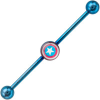 Captain America Anodized Industrial Barbell | Body Candy Body Jewelry