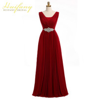 Burgundy Long Bridesmaid Dresses V-neck Rhinestone Beadings Dark Red Wedding Guest Dresses A-line Maid of Honor Gowns