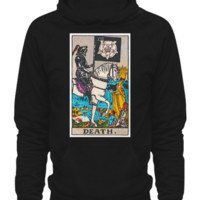 Death Tarot Card Adult Hoodie Unisex Man's Woman's Ladies Black deathhoodieblack