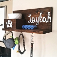 Dog Leash Holder, Dog Collar Holder, Custom Dog Leash Holder, Dog Leash Hanger, Dog Treat Holder, Dog Collar Sign, Personalized Dog Sign