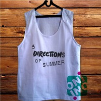 5 Directions of Summer Men's White Cotton Solid Tank Top