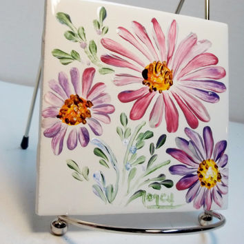 White Ceramic Tile Hand Painted Design My Garden Style Mauve Purple Daisies