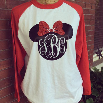 Monogrammed Minnie Mouse w Glitter Bow Baseball Style Jersey Shirt Mickey Mouse Disney Family Vacation Tee Shirt Unisex