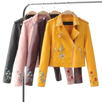 VOGUE!N New Womens Embroidered Long Sleeve Faux Leather Motorcycle Biker Jacket Coat Size S M L Candy Colors
