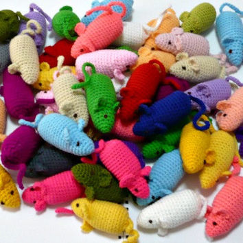 Cat Toys Crochet Mice Mini Plush Amigurumi Mouse (3 Pieces, no catnip)