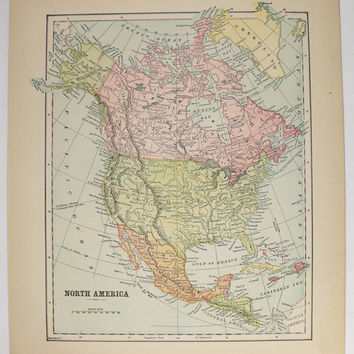 Old North America Map 1896 Antique Map United States Dominion O