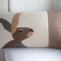 Hare cushion with mixed tweeds and wool woven in Wales