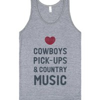 Cowboys Pickups & Country Music (Tank)-Unisex Athletic Grey Tank