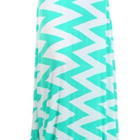 Chevron Maxi Skirt -mint
