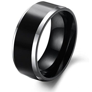 Tungsten Carbide 8mm Antique Black Wedding Engagement Band Rings Beveled Edges High Polish Finish