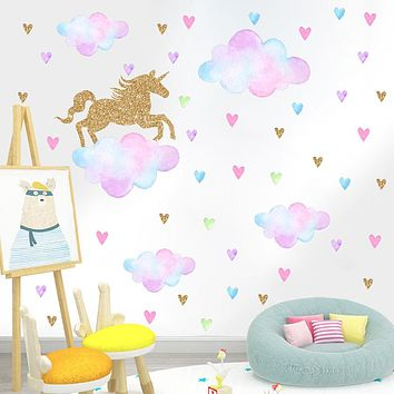 Colorful Cloud Horse Wall Stickers - Words & Quotes Wall Stickers / Plane Wall Stickers Characters Study Room / Office / Dining Room / Kitchen