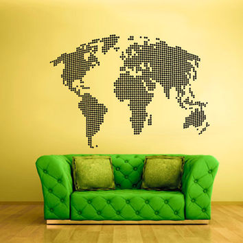 rvz1728 Wall Vinyl Sticker Bedroom Decal World Map Country Words Quotes Dots